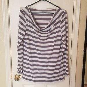 LOFT Gray Striped Cowl Neck Top L